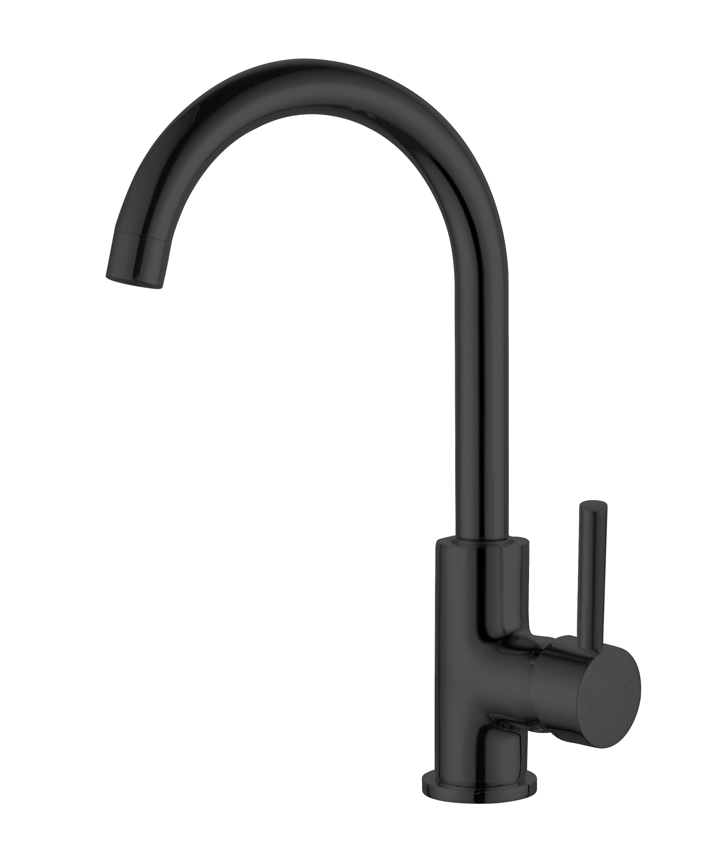 ORB gooseneck kitchen mixer matt black