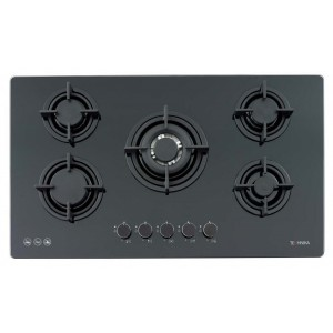 900mm black glass cooktop